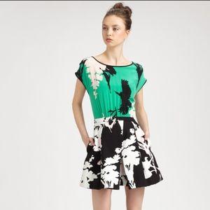 Tibi Green Floral Skater Dress